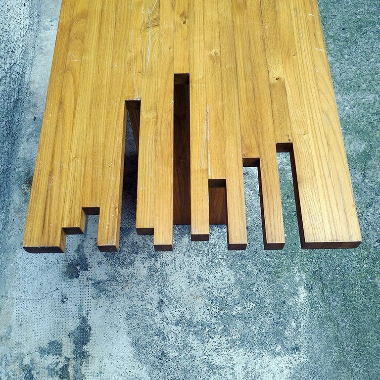 Italian Mid-Century Modern Light Wood Console, 1970s In Good Condition For Sale In MIlano, IT