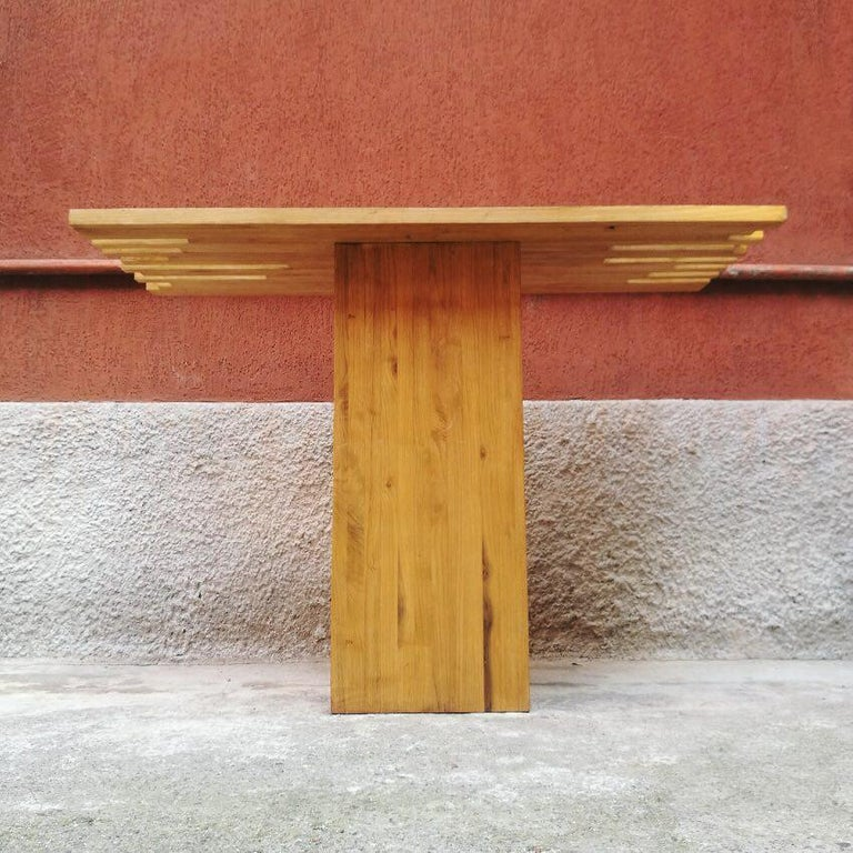 Late 20th Century Italian Mid-Century Modern Light Wood Console, 1970s For Sale