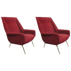 Italian Mid-Century Modern Lounge Chairs Attributed to Gianfranco Frattini, Pair