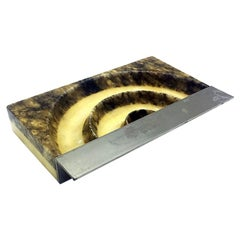 Italian Mid-Century Modern Marble and Steel Ashtray, 1960s