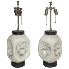 Italian Mid-Century Modern Matte Bisque Ceramic Fruit Lamps, Pair