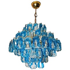Italian Mid-Century Modern Mazzega Blue Glass 15-Light Chandelier
