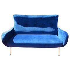 Italian Mid-Century Modern MCM Brass Leg Settee Sofa Couch, circa 1955