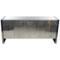 Italian Mid-Century Modern Mirrored and Chrome Sideboard by Ello