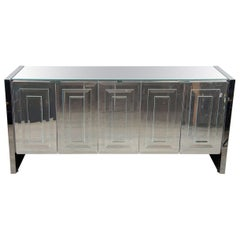 "Italian Mid-Century Modern Mirrored and Chrome ""Reflections"" Sideboard by Ello"