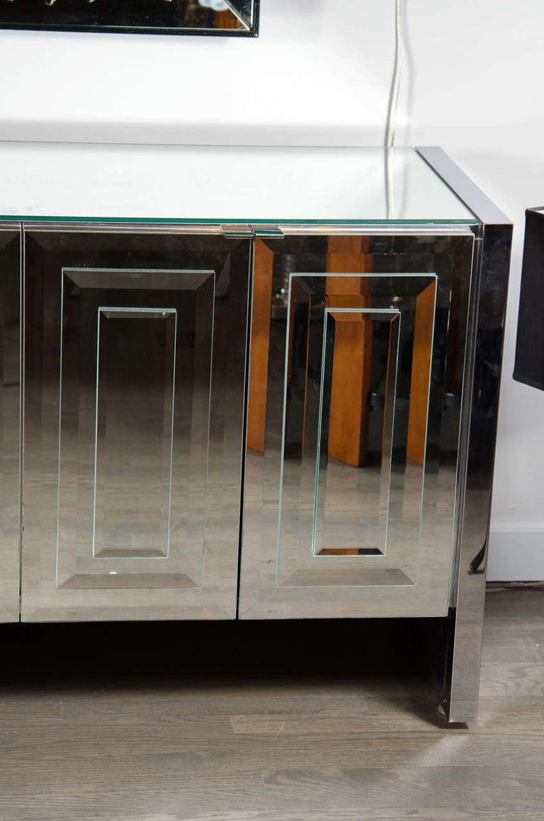 American Italian Mid-Century Modern Mirrored and Chrome