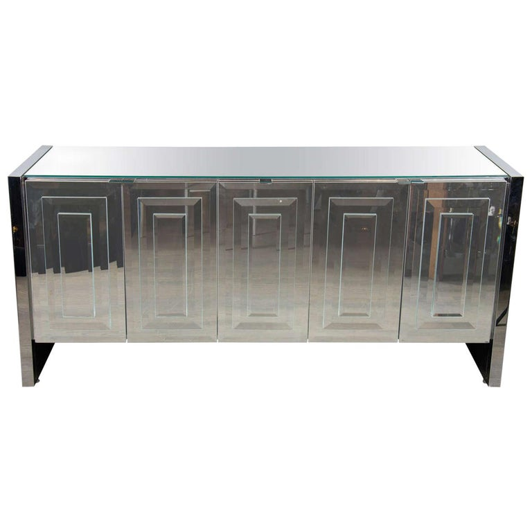 """Italian Mid-Century Modern Mirrored and Chrome """"Reflections"""" Sideboard by Ello For Sale"""
