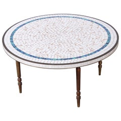 Italian Mid-Century Modern Mosaic Tile and Brass Cocktail Table, 1950s