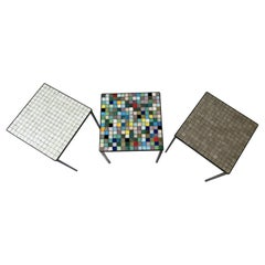 Italian Mid-Century Modern Mosaic Tile Stacking or Side Tables, Set of 3