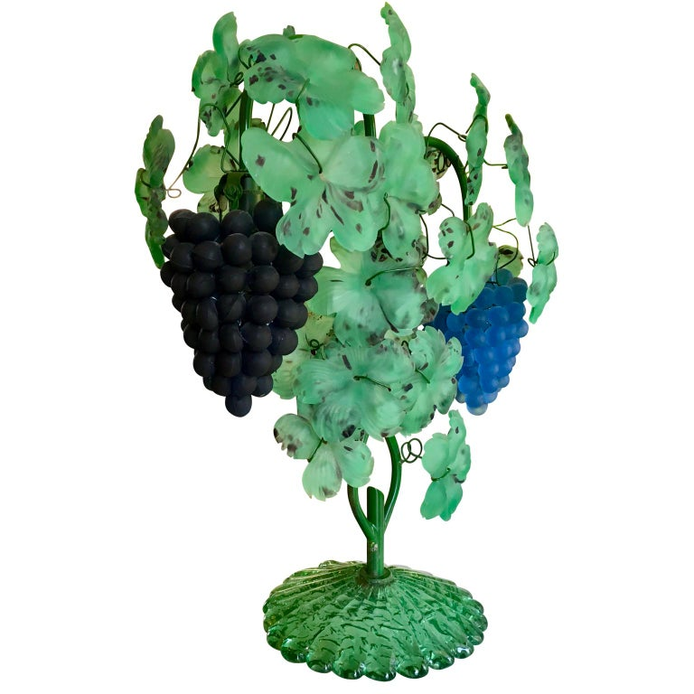 20th Century Italian Mid-Century Modern Murano Art Glass Grape and Leaf Table Lamp For Sale