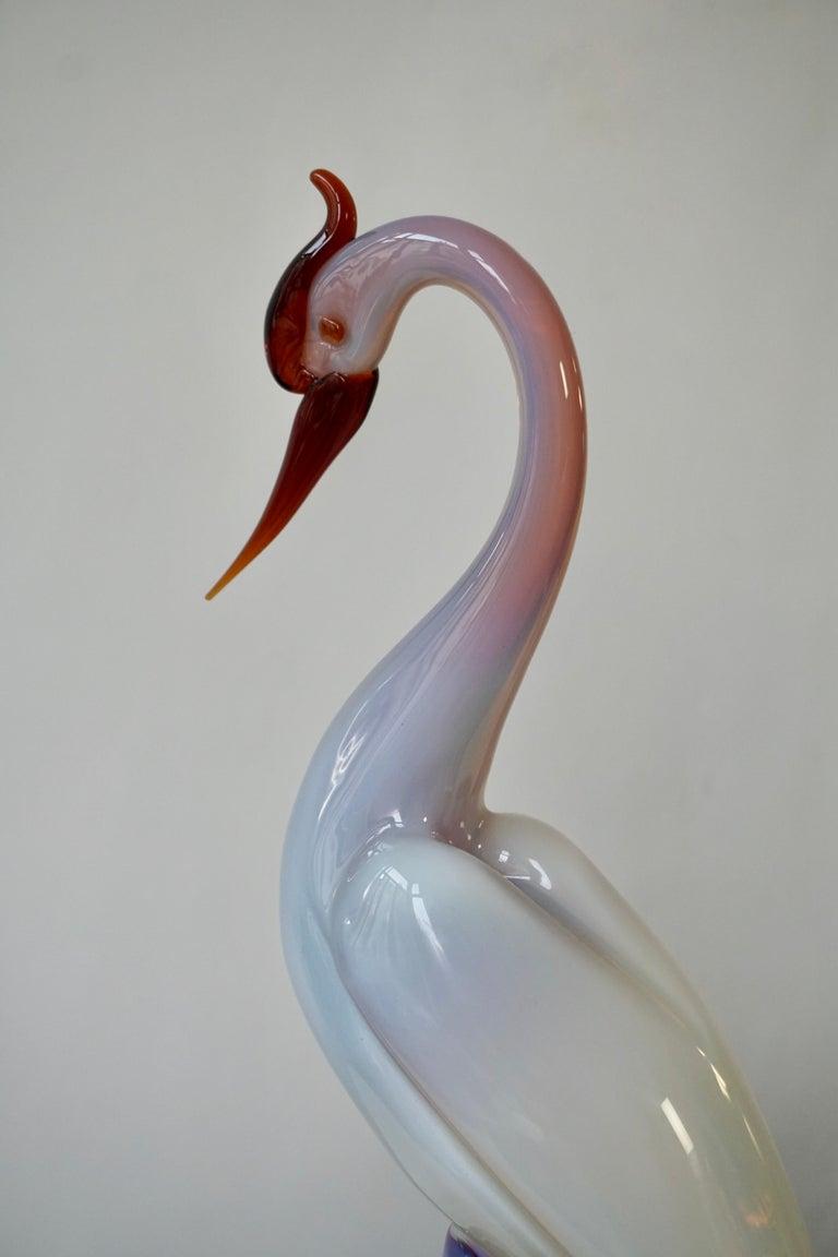 Italian Mid-Century Modern Murano Glass Bird Sculpture For Sale 3
