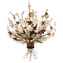 Italian Mid-Century Modern Murano Glass Flower Bouquet Chandelier