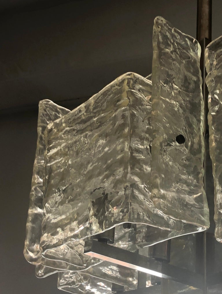 Italian Mid-Century Modern Murano / Venetian Ice Glass Chandelier / Pendant For Sale 5