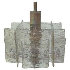 Italian Mid-Century Modern Murano / Venetian Ice Glass Chandelier / Pendant