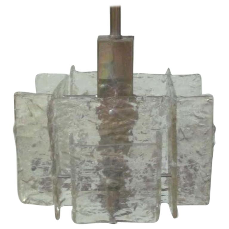 Italian Mid-Century Modern Murano / Venetian Ice Glass Chandelier / Pendant For Sale