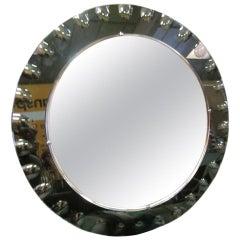 Italian Mid-Century Modern Neoclassical Engraved Sunburst Mirror by Crystal Arte