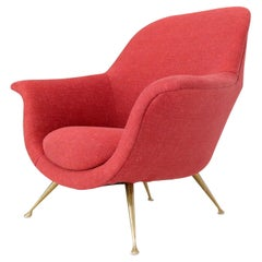 Italian Mid-Century Modern New Red Upholstery Lounge Chair on Solid Brass Legs