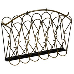 Italian Mid-Century Modern Newspaper and Magazine Rack Made of Brass