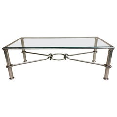Italian Mid-Century Modern Nickel & Glass Coffee Table, Giovanni Banci & Hermes