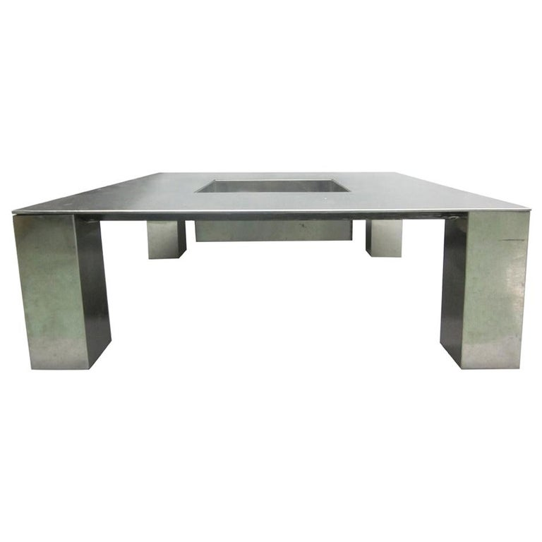 Italian Mid-Century Modern Nickel Steel Coffee Table by Saporiti Italia, 1970 For Sale