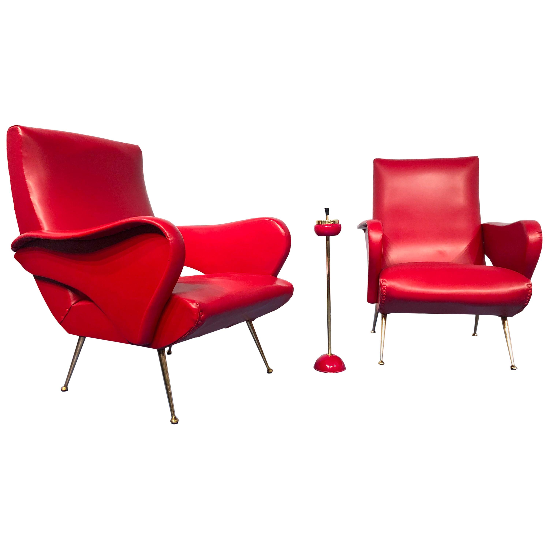 Pair of Italian Midcentury Modern Red Vinyl Armchairs, Nino Zoncada Style, 1950s