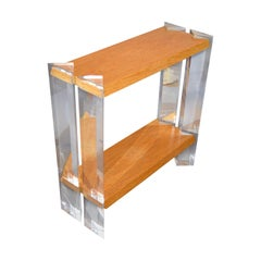 Italian Mid-Century Modern Oak & Acrylic Two-Tier Console Table, Bookshelf 1960s