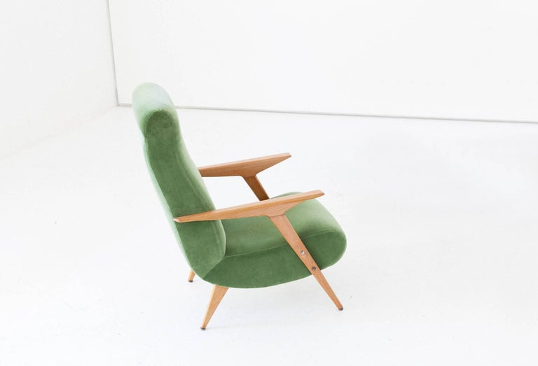Easy chair with armrests, manufactured in Italy in 1950s