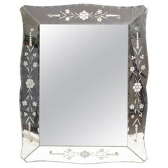 Italian Mid-Century Modern Ornate, Faceted and Etched Venetian Wall Mirror