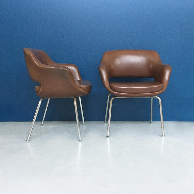 Steel Italian Mid-Century Modern Pair of Brown Leather Armchair by Cassina, 1970s For Sale