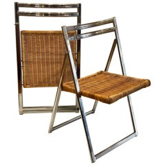 Italian Mid-Century Modern Pair of Folding Chairs in Chrome & Wicker