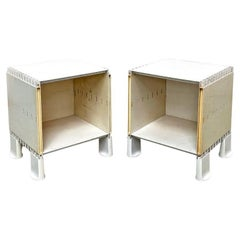 Italian Mid-Century Modern Pair of White Plastic Bedside Tables, 1970s