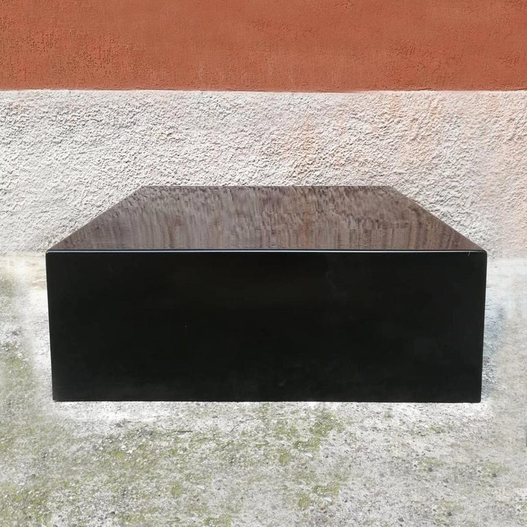 Italian Mid-Century Modern parallelepiped in glossy black plastic, 1970s Parallelepiped in glossy black plastic. A truly versatile piece of furniture, for display and otherwise.  Very good condition  Measures: 80 x 80 x 40 H.