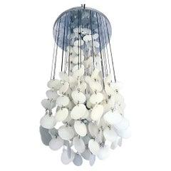 Italian Mid-Century Modern Pearl White Glass Cascade Chandelier, 1970s