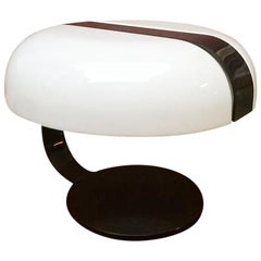 Italian Mid-Century Modern Perspex Brown and White Table Lamp, 1970s