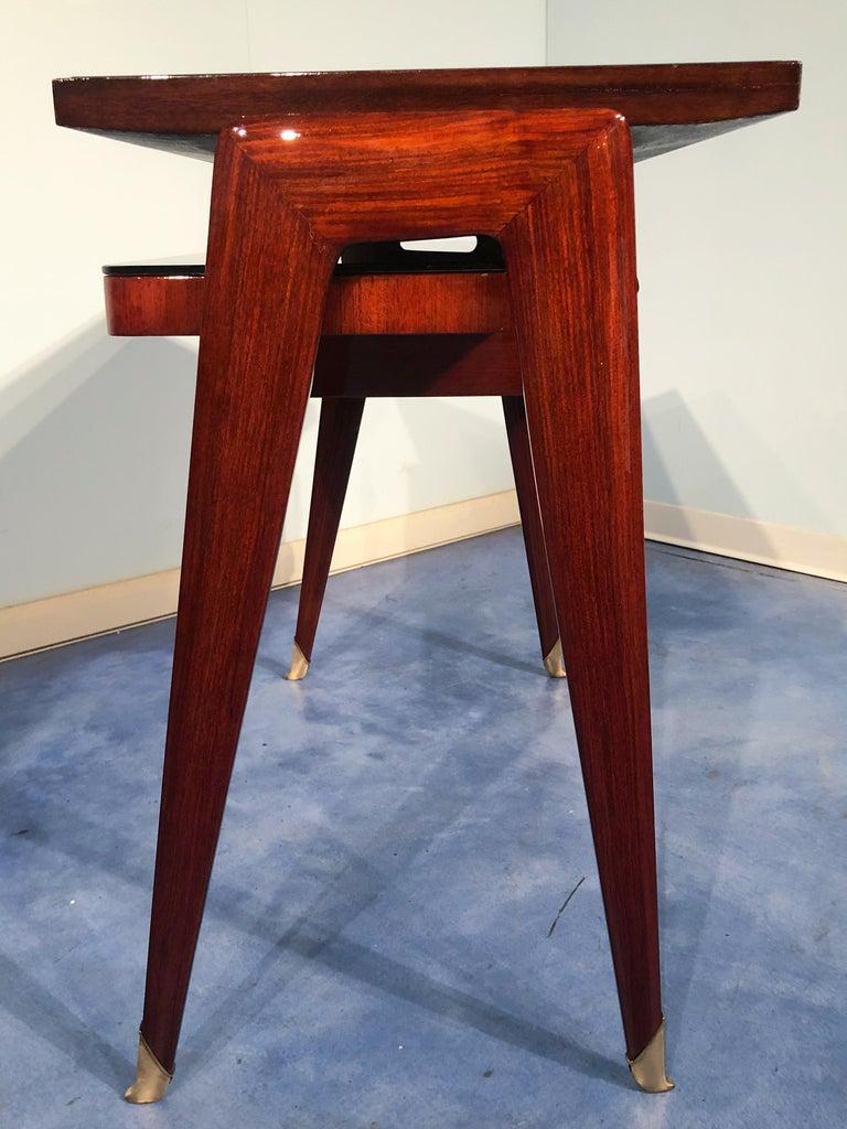 Italian Mid-Century Modern Petite Desk in Teak Designed by Vittorio Dassi, 1950s For Sale 5