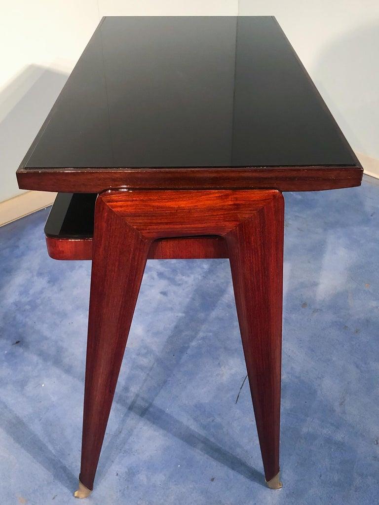 Italian Mid-Century Modern Petite Desk in Teak Designed by Vittorio Dassi, 1950s For Sale 6