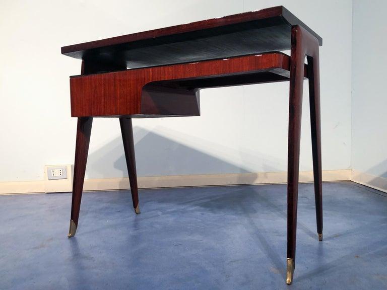 Italian Mid-Century Modern Petite Desk in Teak Designed by Vittorio Dassi, 1950s For Sale 7