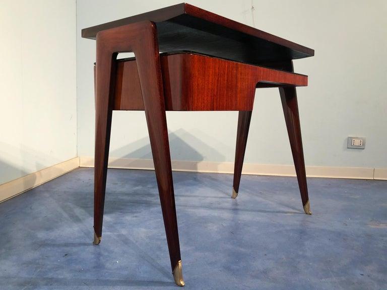 Italian Mid-Century Modern Petite Desk in Teak Designed by Vittorio Dassi, 1950s For Sale 8