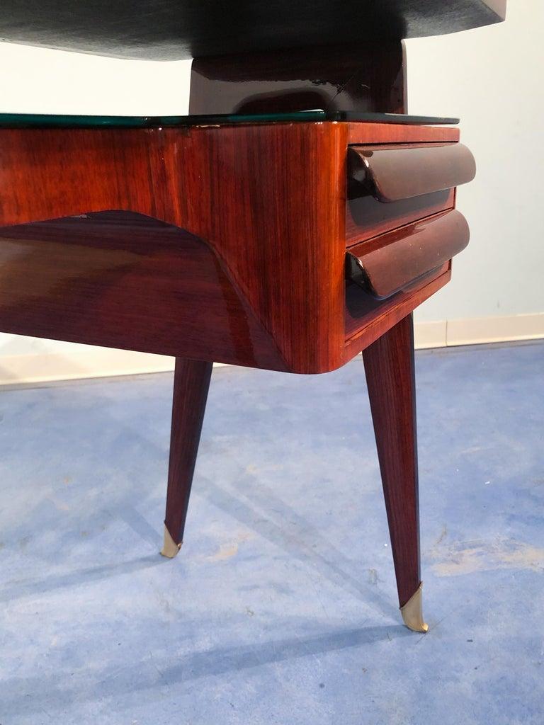 Italian Mid-Century Modern Petite Desk in Teak Designed by Vittorio Dassi, 1950s For Sale 10