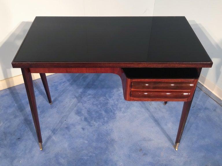 Italian Mid-Century Modern Petite Desk in Teak Designed by Vittorio Dassi, 1950s For Sale 11