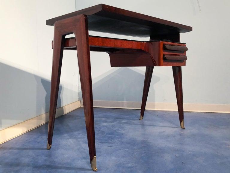 Italian Mid-Century Modern Petite Desk in Teak Designed by Vittorio Dassi, 1950s For Sale 12