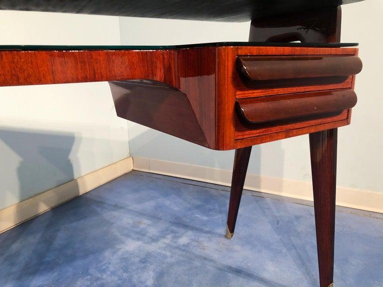 Italian Mid-Century Modern Petite Desk in Teak Designed by Vittorio Dassi, 1950s For Sale 13