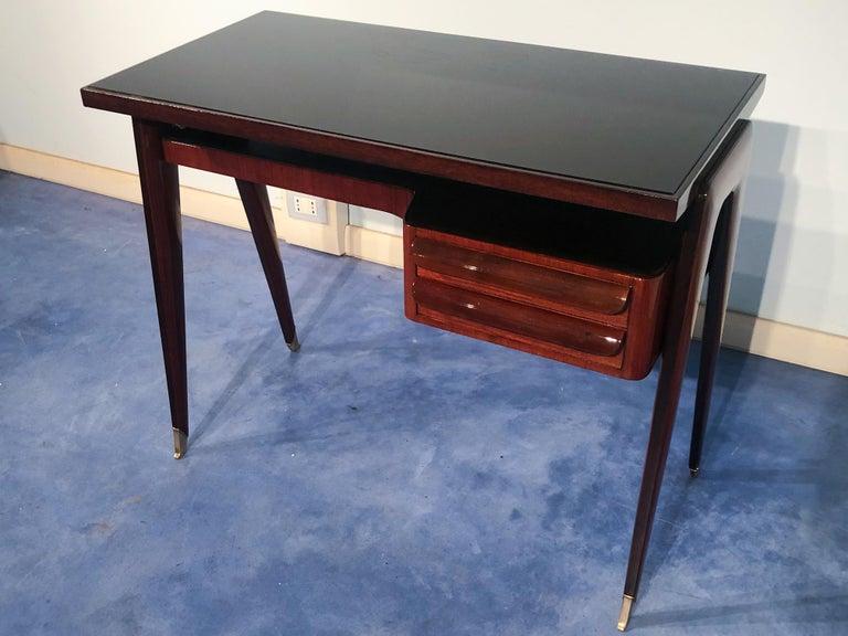 Mid-20th Century Italian Mid-Century Modern Petite Desk in Teak Designed by Vittorio Dassi, 1950s For Sale