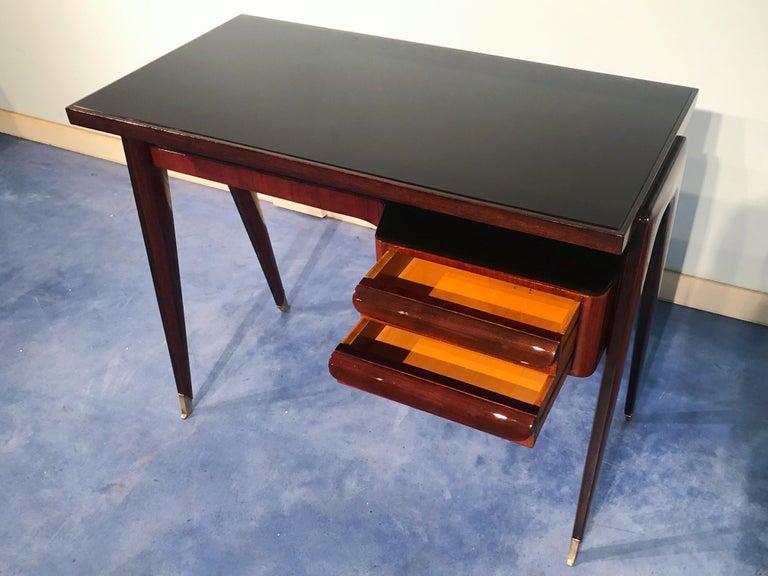 Brass Italian Mid-Century Modern Petite Desk in Teak Designed by Vittorio Dassi, 1950s For Sale
