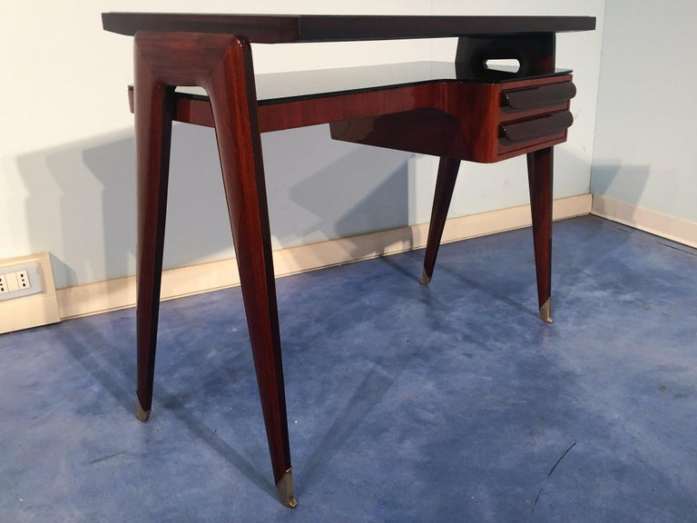 Italian Mid-Century Modern Petite Desk in Teak Designed by Vittorio Dassi, 1950s For Sale 1