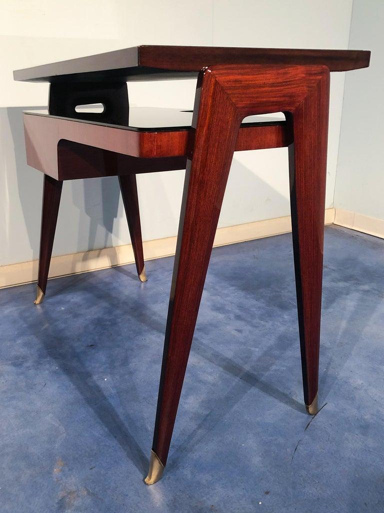 Italian Mid-Century Modern Petite Desk in Teak Designed by Vittorio Dassi, 1950s For Sale 2