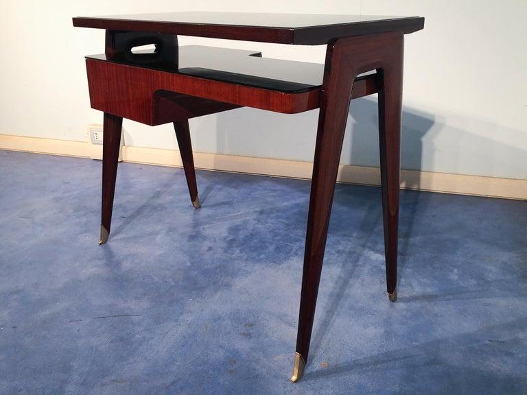 Italian Mid-Century Modern Petite Desk in Teak Designed by Vittorio Dassi, 1950s For Sale 3