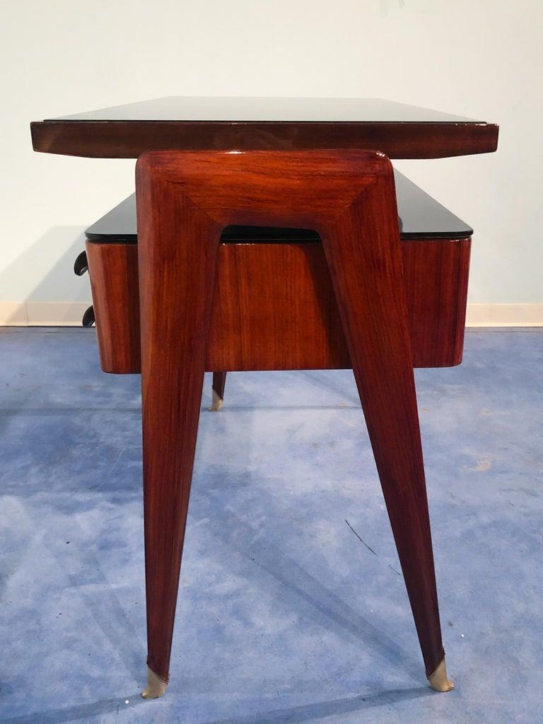 Italian Mid-Century Modern Petite Desk in Teak Designed by Vittorio Dassi, 1950s For Sale 4