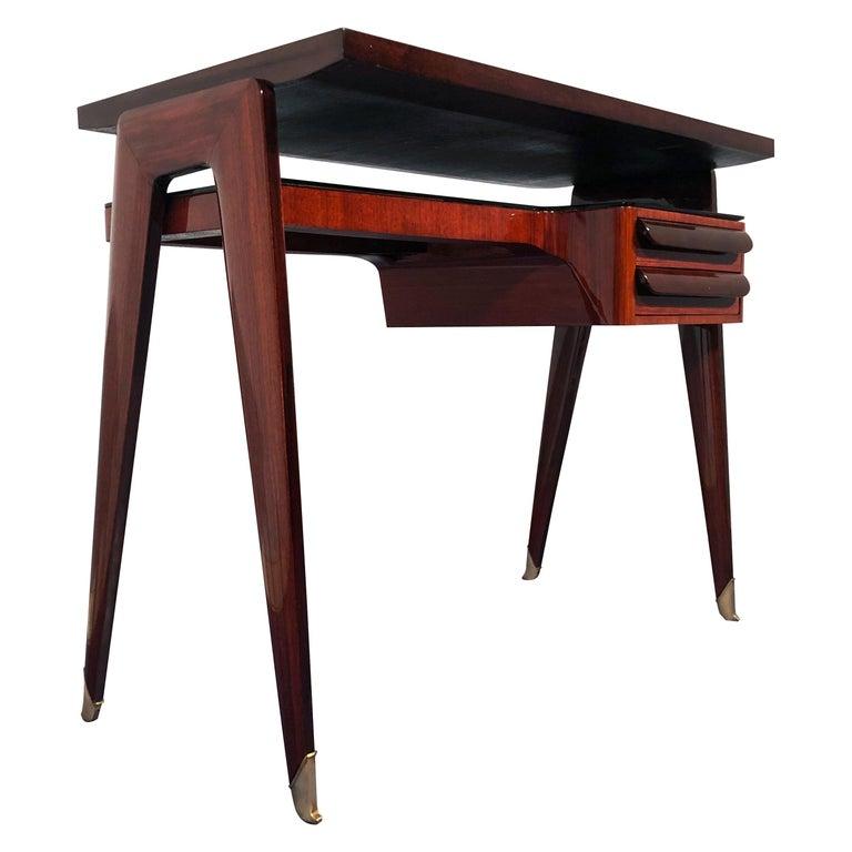 Italian Mid-Century Modern Petite Desk in Teak Designed by Vittorio Dassi, 1950s For Sale