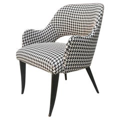 Italian Mid-Century Modern Piede De Poul Armchair with Curved Armrests, 1960s